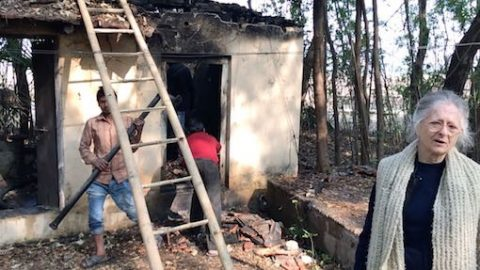 MAITRI Director inspects damage from fire