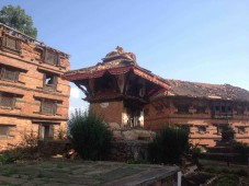 Damage to historic buildings in Nawakot's Durbar Square form today's strong earthquake.